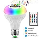 Lampadina Altoparlante, JOLVVN Luce LED Musica 2-In-1 E27 Speaker Notturna Telecomando RGB Audio...