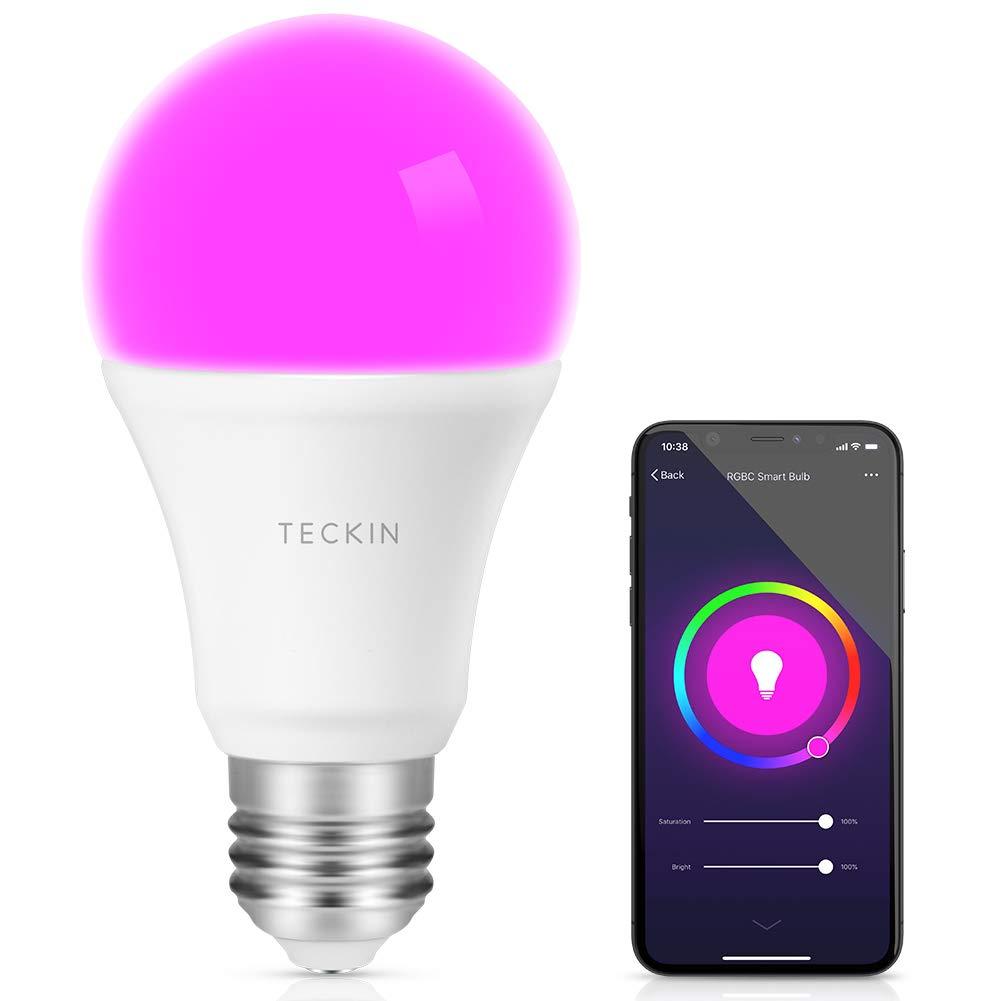Lampdina Smart LED Multicolore Dimmerabile, TECKIN E27