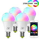 HaoDeng Smart WiFi Lampadina Alexa, dimmerabile Multicolor E26 A19 7W (equivalente 60w) Lampadina a...
